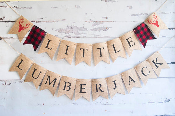 Lumberjack First Birthday Decor, Lumberjack 1st Birthday Banner, Lumberjack Banner, Little Kid's Logger Birthday Decor, B523