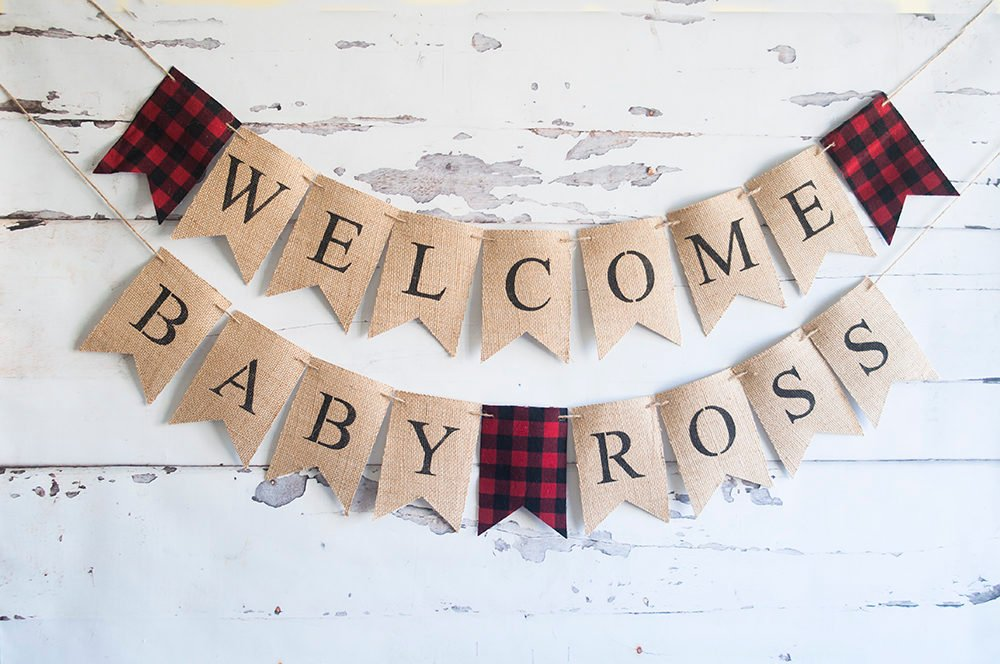 Welcome Baby Decor, Lumberjack Baby Shower Banner, Buffalo Plaid Baby Shower Decoration, Personalized Lumberjack Baby Shower, B526