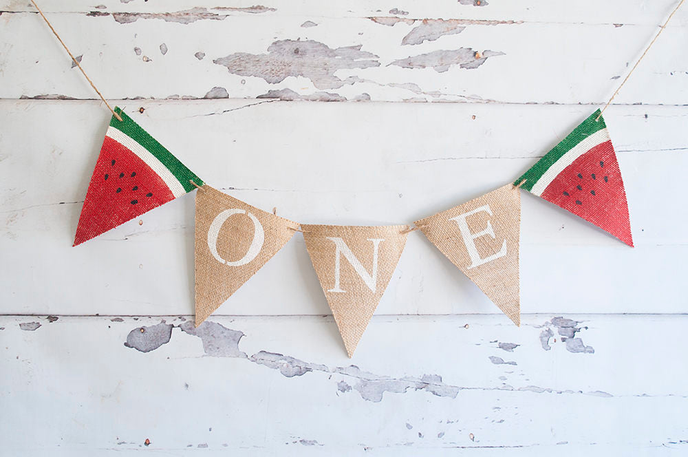 First Birthday Decorations, Summer Birthday Banner, Watermelon 1st Birthday Decor, Baby's First Birthday Sign, B530