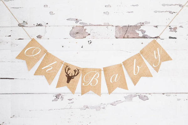 Woodland Baby Shower Decor, Stag Deer Antler, Hunting Baby Shower Decor, Baby Shower Banner, Gender Reveal Banner, Oh Baby Banner, B1076