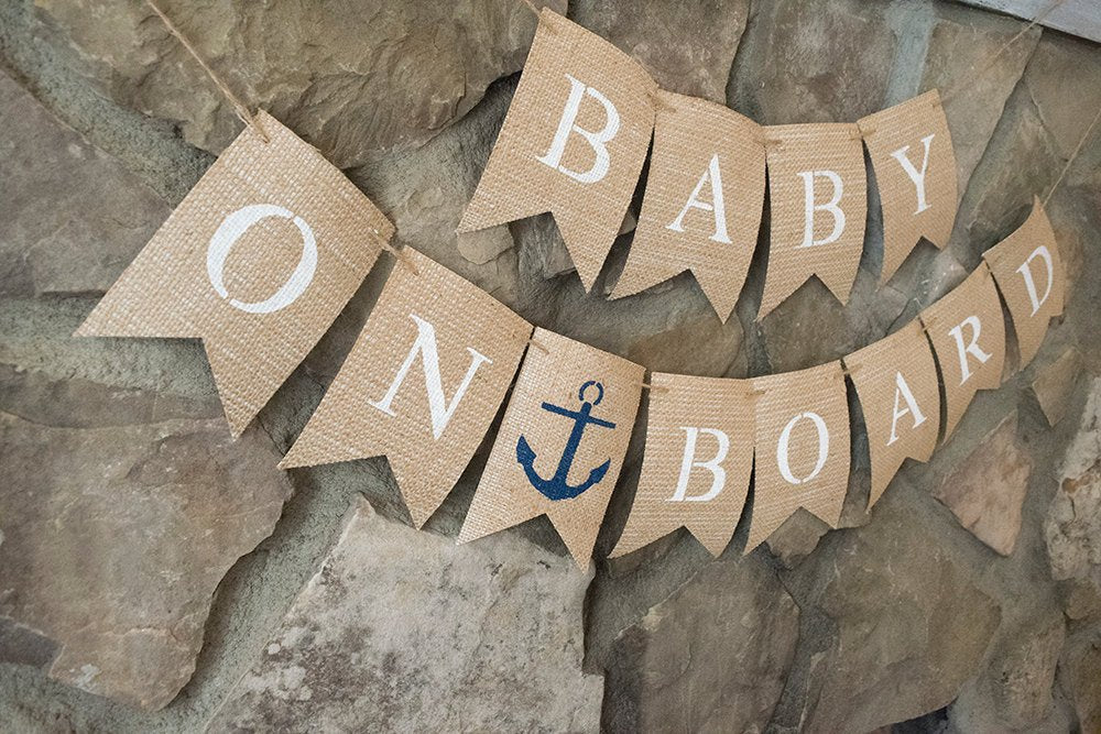 Baby On Board Banner, Nautical Baby Banner, Nautical Baby Shower Banner, Nautical Navy Banner, New Baby Banners, Sailor Baby Banners, B447