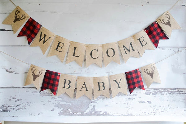 Lumberjack Baby Shower Decor, Welcome Baby Banner, Bufaloo Plaid Baby Shower Banner, B533