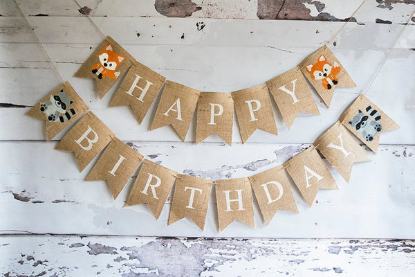 Woodland Themed Birthday Party, Woodland party Decorations, Fox Happy Birthday Banner, Woodland Animal Banner, Woodland Decor, B534