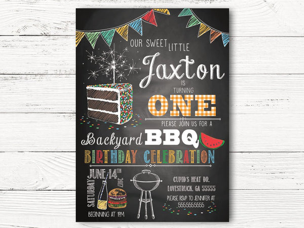 Boy First Birthday Invitations, Personalized Backyard BBQ Birthday Invitation, Boy Birthday Invites, Boy 1st Birthday Invitation Cards, C044