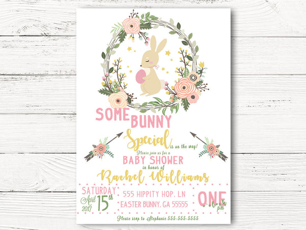 Digital Easter Baby Shower Invitation, Bunny Themed Baby Shower,  Spring Party Invites, Springtime Baby Announcement, C046