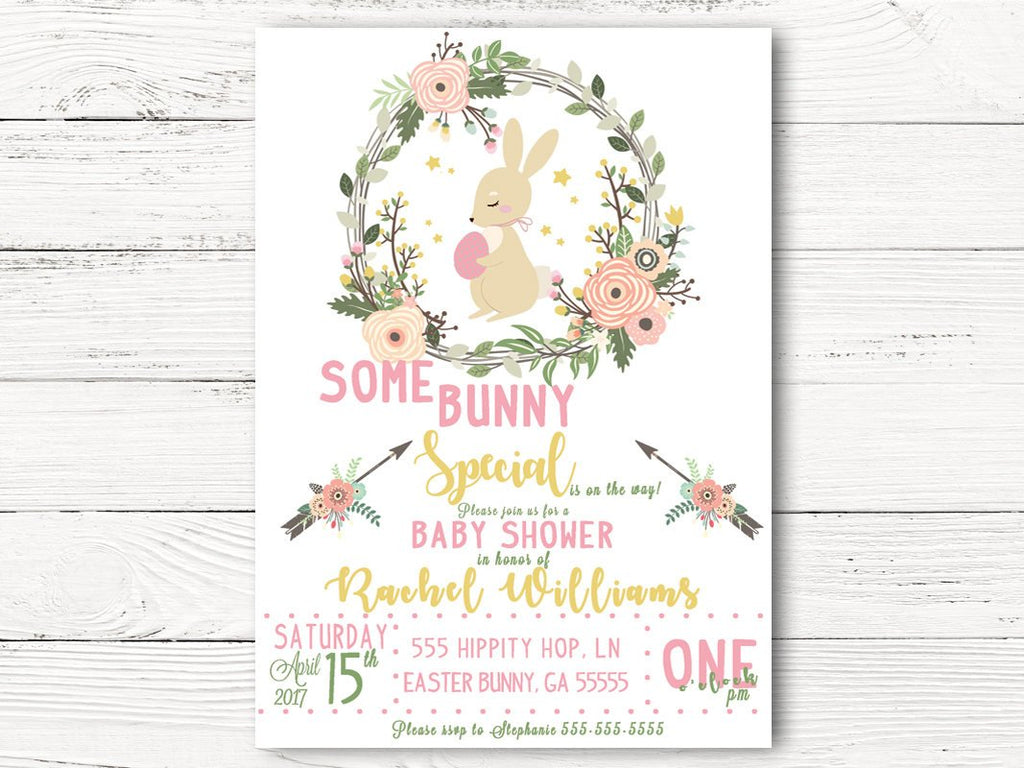 Easter Baby Shower Invitation, Bunny Themed Baby Shower,  Spring Party Invites, Springtime Baby Announcement, C046