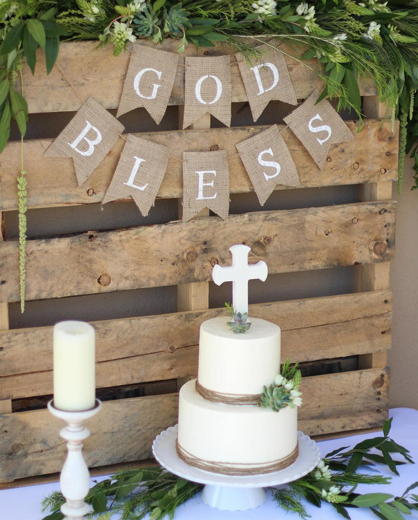 God Bless Banner, First Communion Banner, Christening Banner, Baptism Banner, Confirmation Banner, Cross Banner, Religious Banner, B607