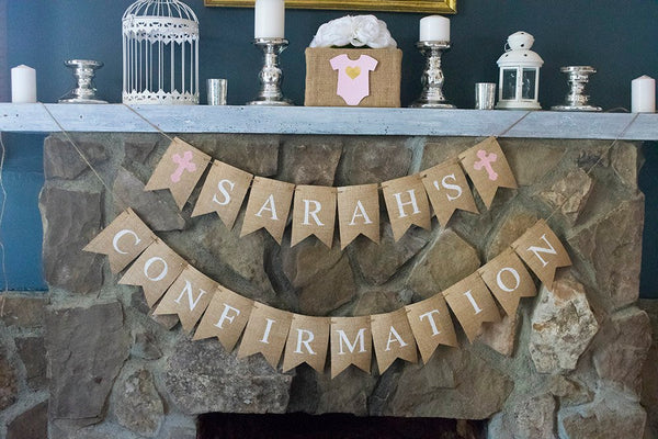 Personalized Girl Confirmation Banner, Customized Religious Celebration Banner, Christian Confirmation Decor, Confirmation Decorations, B482