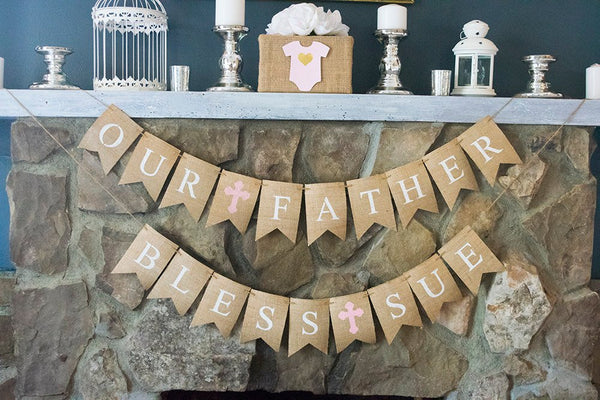 Communion Decor, Baptism Banners, Confirmation Decoration, Religious Garland, God Bless Banner, B485