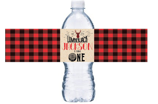 Boy First Birthday Water Bottle Labels, Lumberjack First Birthday Bottle Wrap, Red Plaid 1st Birthday Bottle Decor, Turning One Party, BL033