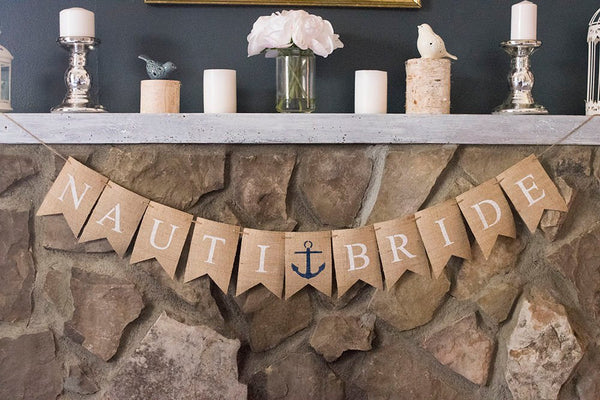 Nautical Bridal Shower Decor, Blue Anchor Nauti Bride Banner, Nautical Wedding Decor, Anchor Bachelorette Sign, B504