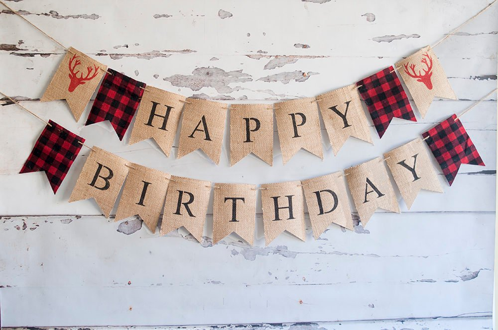 Lumberjack Birthday Decor, Red Plaid Lumberjack Birthday Banner, Hunting Happy Birthday Garland, Deer Antler Birthday Banner Decor, B524