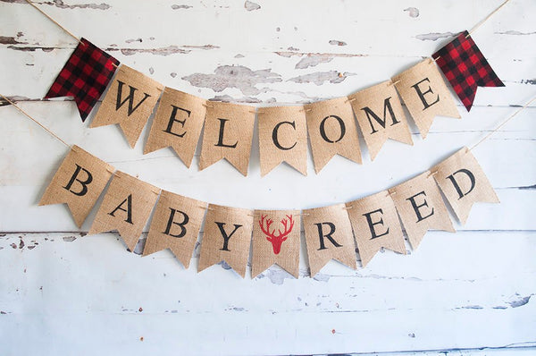 Lumberjack Baby Shower Banner, Welcome Baby Banner, Deer Antler Hunting Baby Shower Garland, Lumberjack Decor, B527