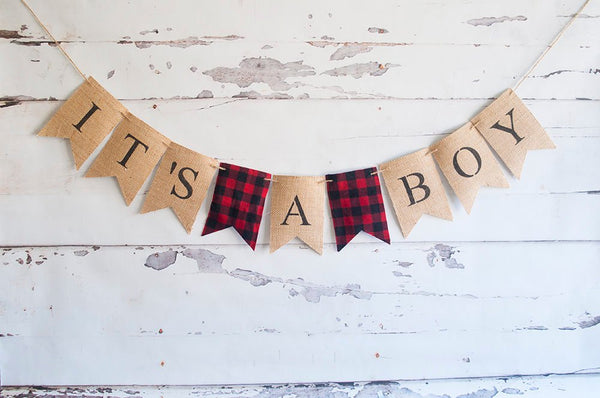 Lumberjack Baby Shower Banner, Red Plaid It's A Boy, Camping Baby Shower Decor, Lumberjack Gender Reveal Banner,  B528