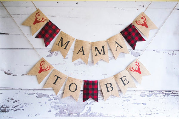Lumberjack Baby Shower Decor, Mama To Be Lumberjack Banner, Hunting Baby Shower Decorations, Antler Baby Shower Banner, B532