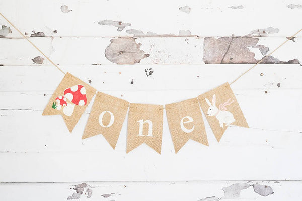 Woodland 1st Birthday Decoration, Woodland Banner, Toadstool Fairy Decor, Bunny Highchair Banner, B574