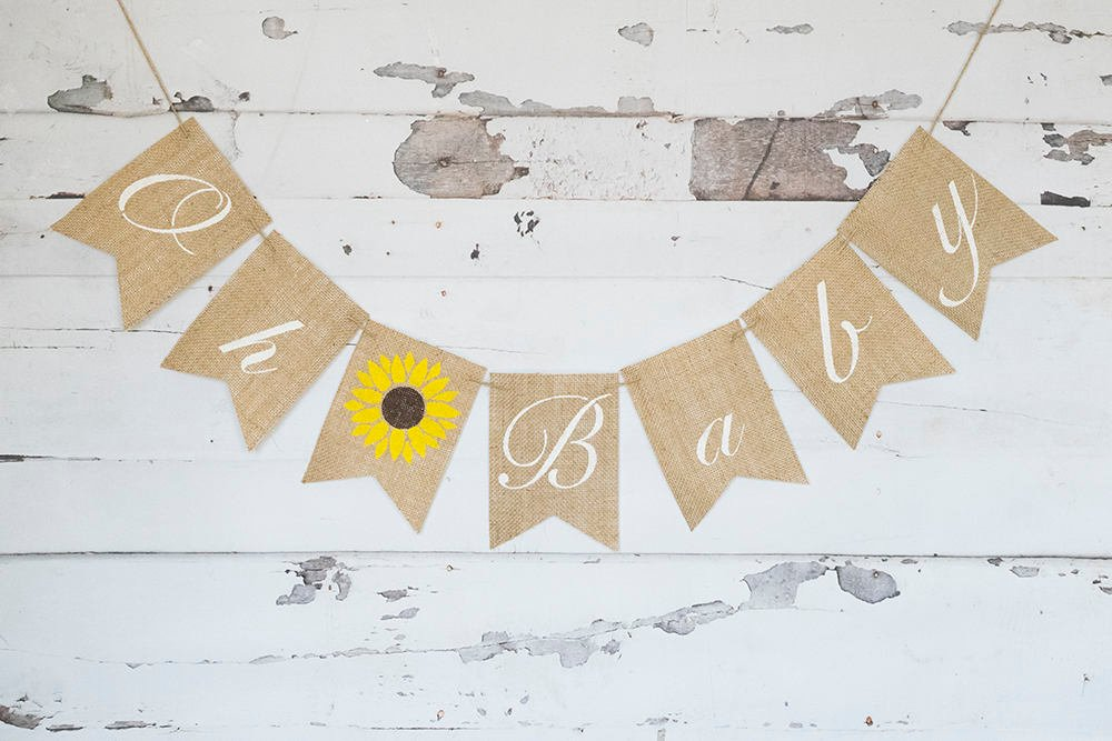 Summer Baby Shower Banner, Sunflower Gender Reveal Banner, Oh Baby Banner, Summer Baby Shower Decor, B1073
