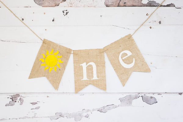 Summer First Birthday Decoration, Sunshine 1st Birthday Banner, Sunny Highchair Banner, 1st Birthday Photo Prop, B616
