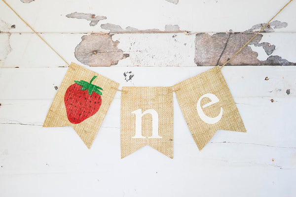 1st Birthday Party Decor, Summer First Birthday Decoration, Strawberry 1st Birthday Banner, Strawberry Highchair Banner, B614