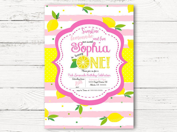First Birthday Invitation, Lemon Birthday Party Invite, Summer Party, Pink Lemonade First Birthday Invitation,  C051