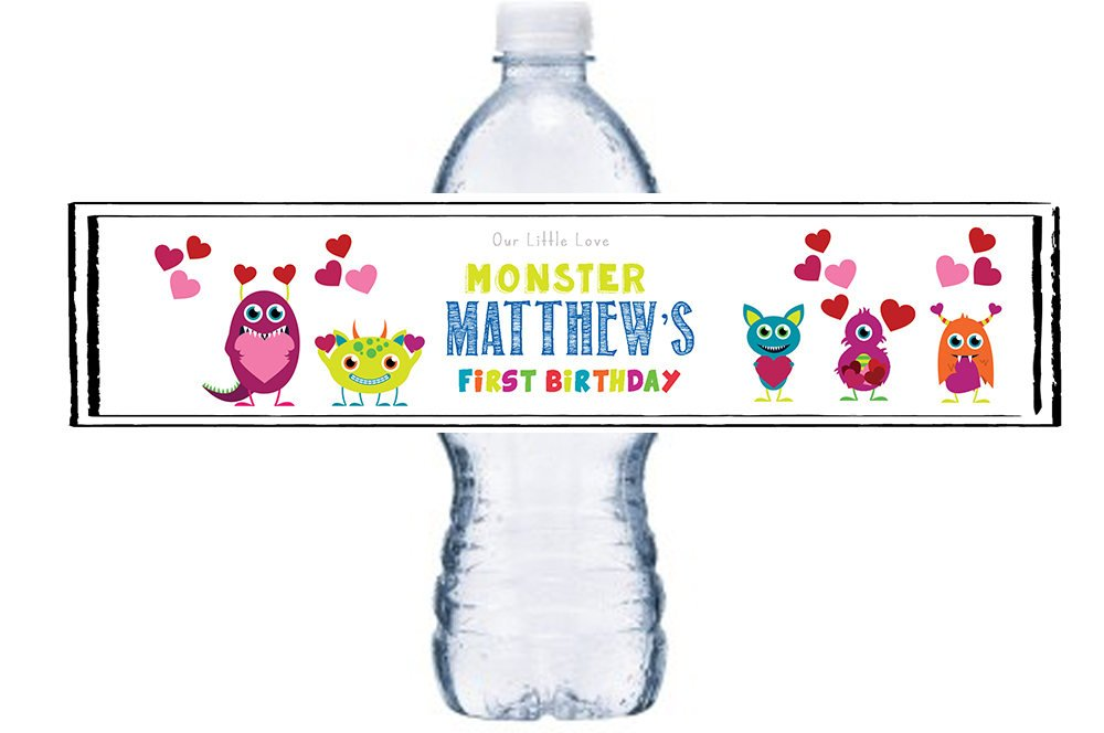 First Birthday, Waterproof Bottle Labels, Little Monster, Birthday Bottle Wrap, Boy, Valentine 1st Birthday Bottle Labels/Stickers, BL024