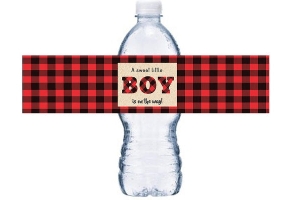Baby Shower Decorations, Lumberjack Baby Shower Bottle Labels, Boy Baby Shower Bottle Wraps, Red Plaid Gender Reveal Party Decor, BL032