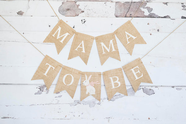 Easter Baby Shower Decor, Bunny Baby Shower Banner, Mama to Be Garland, Parents To Be, Mommy To Be, Burlap Banner, B610