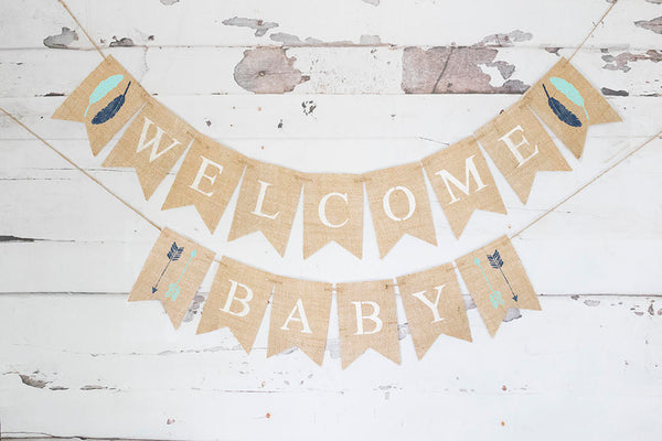Tribal Baby Shower Decor, Tribal Welcome Baby Banner, Arrows and Feathers Baby Shower Garland, Boho Shower Garland, B619