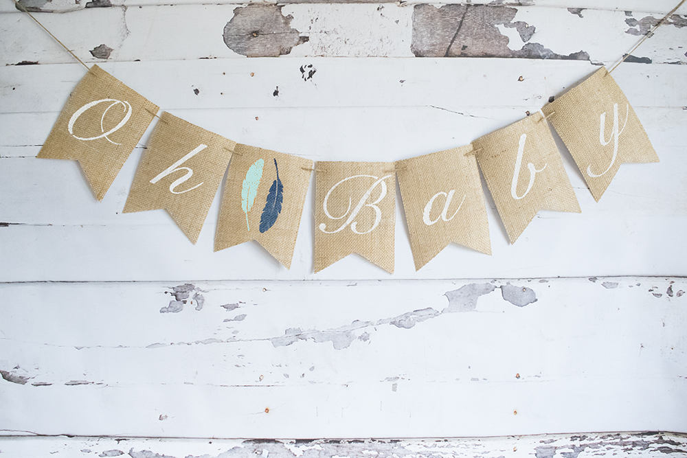 Tribal Baby Shower Decor Oh Baby Feathers Banner Swanky Party Box