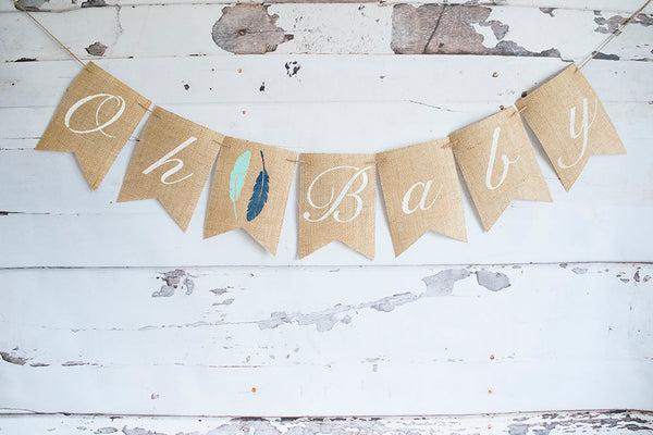 Boho Shower Decor, Tribal Baby Shower Banner, Aztec Decoration, Oh Baby Banner, Arrows Baby Shower Decoration, B183