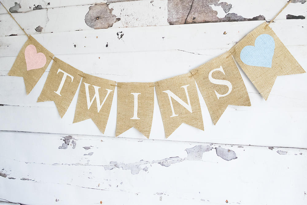 Twins Banner, Twins Baby Shower Decor, Baby Shower Decoration, Twins Nursery Decor, B643