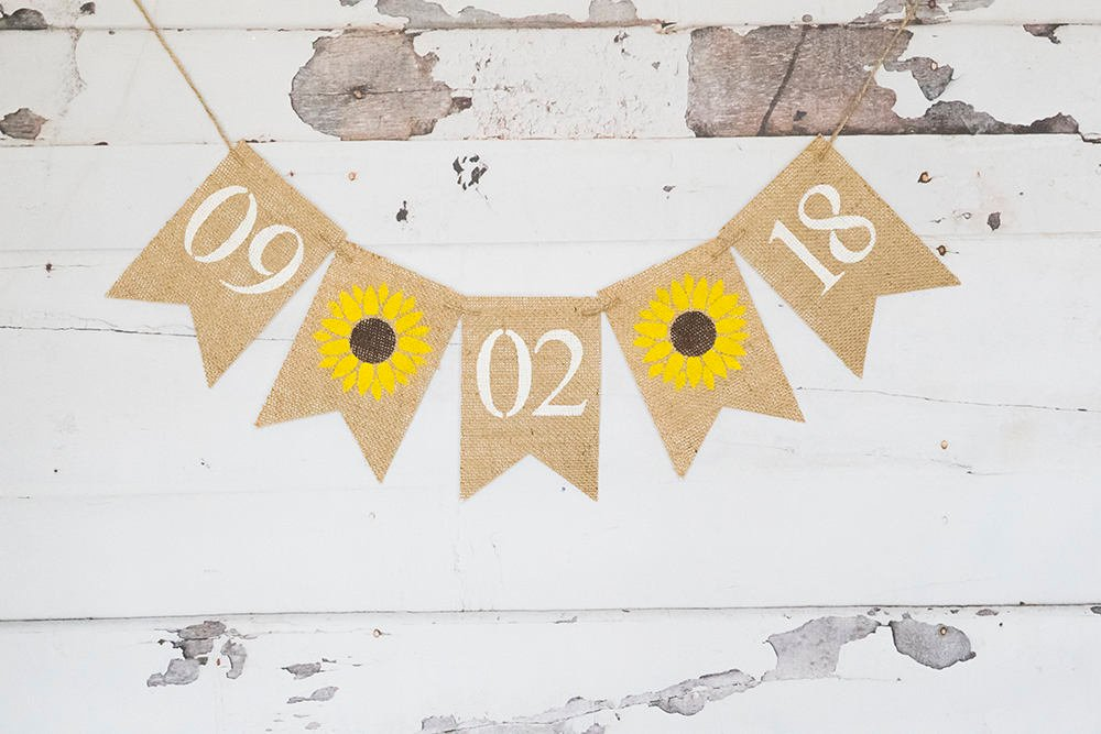 Sunflower Save The Date Burlap Banner, Summer Bridal Shower Decor, Rustic Engagement Announcement Sign, Country Wedding Photo Prop, B564