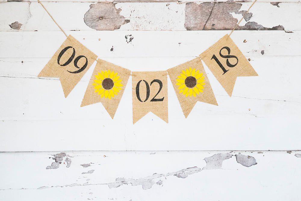 Sunflower Save The Date Burlap Banner, Summer Bridal Shower Decor, Rustic Engagement Announcement Sign, Country Wedding Photo Prop, B565