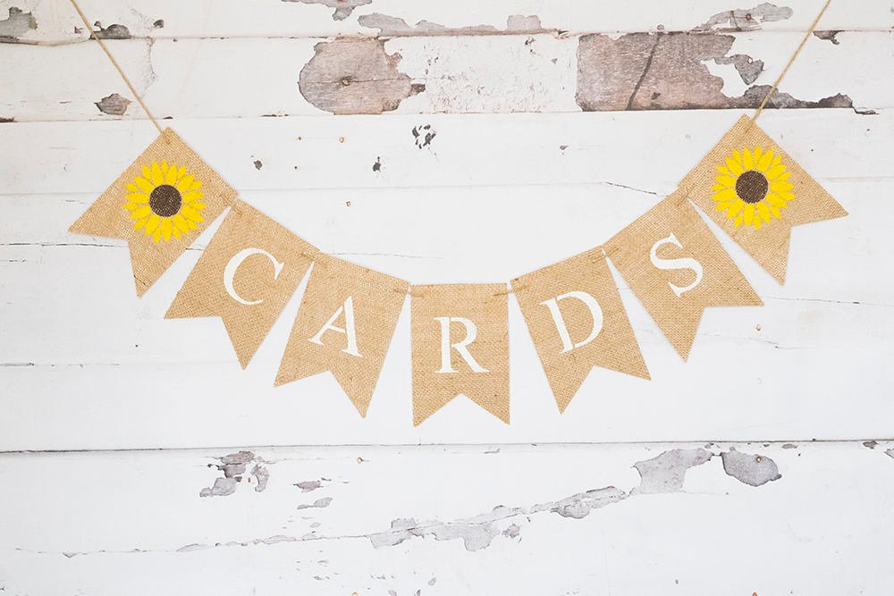 Sunflower Cards Banner, Card Table Sign, Summer Wedding Decor, Reception Cards Sign, B566