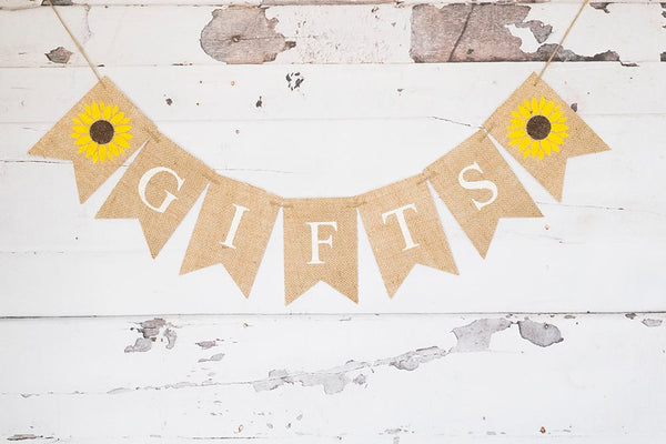 Sunflower Gifts Banner, Gift Table Sign, Summer Wedding Decor, Reception Gifts Sign, B567