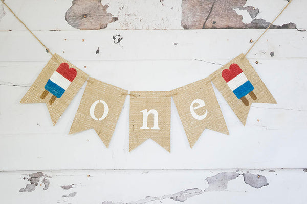 Summer 1st Birthday, Popsicle Banner, 1st Birthday Decor, July 4th 1st Birthday Decoration, One Year Old Sign, Red White Blue Birthday, B715