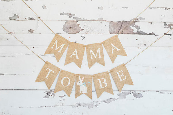 Bunny Baby Shower Decor, Easter Baby Shower Banner, Mama to Be Garland, Mom to be Sign, Parents To Be, Mommy To Be, Burlap Banner, B584