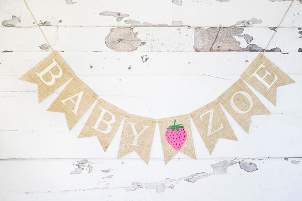 Strawberry Party Decor, Strawberry Baby Shower Decoration, Custom Summer Baby Shower Decor, Strawberry Birthday Party Banner, B740