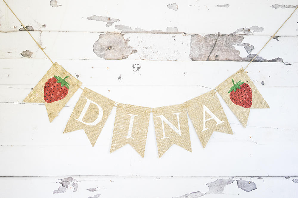 Strawberry Party Decor, Custom Strawberry Banner, Strawberry Birthday Decoration, Strawberry Nursery Decor,  Personalized Berry Banner, B743