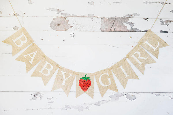 Strawberry Baby Shower Decor, Strawberry Party Decoration, Custom Summer Baby Shower Decor, Strawberry Theme Party Banner, B746