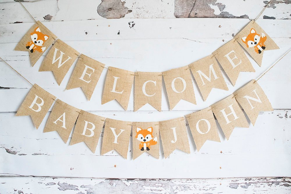 Woodland Baby Shower Decor, Fox Baby Shower Banner, Welcome Baby Banner,  Woodland Shower Decorations, B654