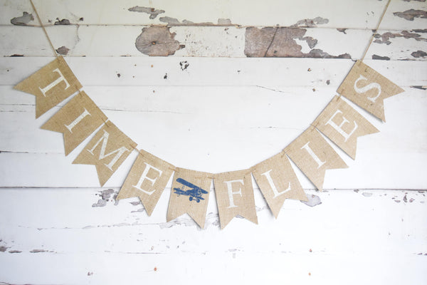 Plane Birthday Decor, Time Flies Banner, Vintage Airplane Baby Shower Decoration, Plane Nursery Decor, Plane Themed Party Decor, B682