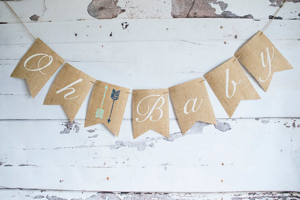 Tribal Baby Shower Banner, Aztec Baby Shower Decoration, Oh Baby Banner, Arrows Baby Shower Decoration, Boho Baby Shower Decor, B1074