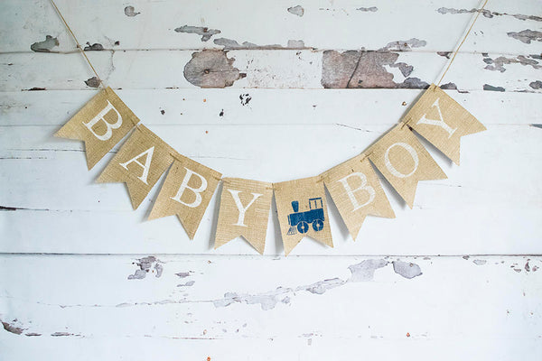 Train Baby Shower Decor, Baby Boy Train Banner, Choo Choo Decoration, Vintage Train Sign,  Baby Boy Shower, Train Shower Decoration, B667