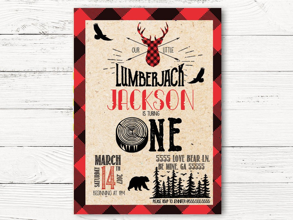 Lumberjack First Birthday Invitation, Buffalo Plaid  Invitation, Wildness Invite, Baby Birthday Invitation, C049