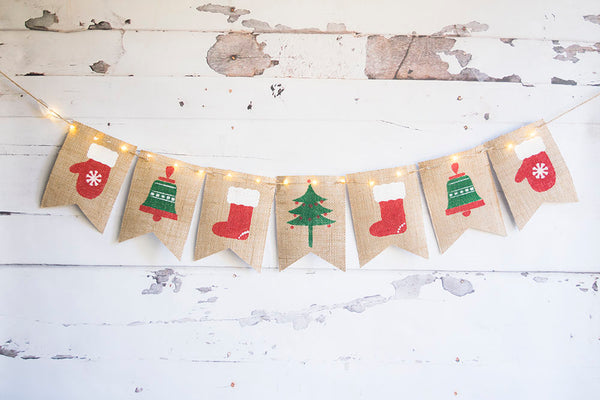 Christmas Decor, Merry Christmas Banner, Holiday Banner, Christmas Tree Banner,  Christmas Lights Garland, Mittens, Bells, B719