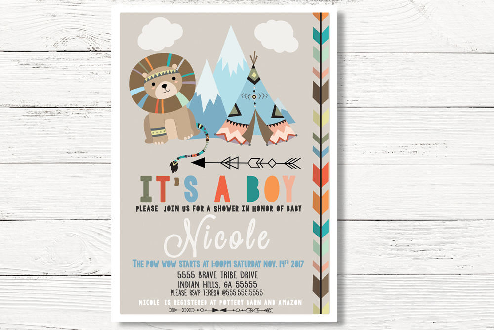 Tribal Lion Baby Shower  Invitation, Pow Wow Shower Invitation, Baby Boy Invite, Baby Lion Invitation, C027