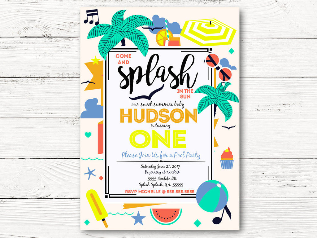 Pool Party First Birthday Invitation Summer Invite Baby Boy 1st