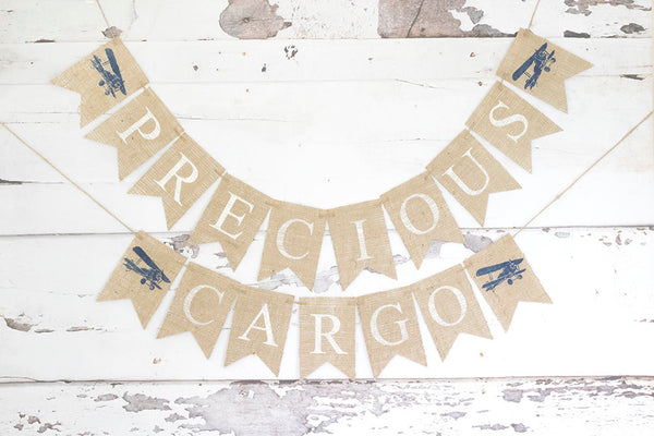 Plane Baby Shower Decor, Precious Cargo Banner, Vintage Airplane Baby Shower Decoration, Plane Nursery Decor, Plane Shower Decoration, B677