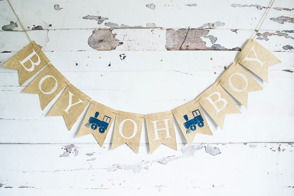 Train Baby Shower Decor, Boy Oh Boy Train Banner, Vintage Train Decoration,  Baby Boy Shower, Train Shower Decoration, B668